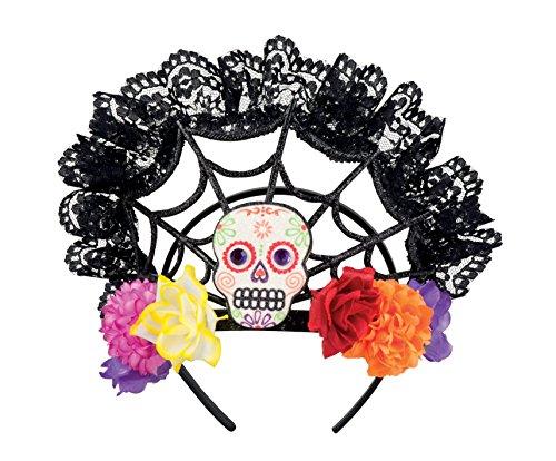 Up Kostüme Make Muertos De Dia Los (Haarreif Tira Calavera Totenmaske Skull Kopfschmuck Spinnwebe Mexiko)