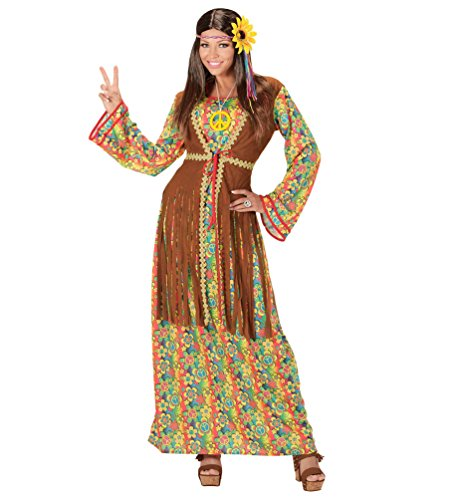 (Karneval Klamotten Hippie Kleid Kostüm Damen Flower-Power Kostüm Damen Peace Kleid lang inkl. Peace Kette Damen-Kostüm Größe 46/48)