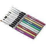 Yimart 10Pcs 10 Colors Different Sizes Copper Handle Nail Art Brush Set Design Polish Nylon UV Gel Painting Nail...