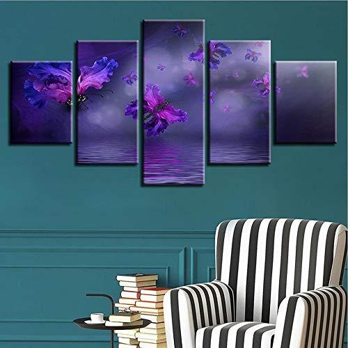 wangchengp Toile Mur Art Non-tissé Impressions sur Toile Image Violet Papillon Oeuvre Peinture Photo Photo Décoration 5 Pièces Abstrait100cmx 55cm