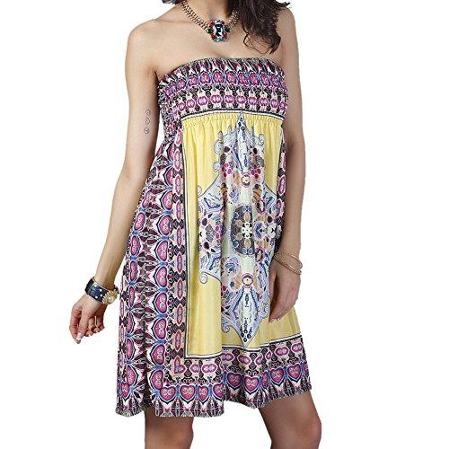 Ksweet Sexy Minikleid Ärmellos Strandkleid Damen Bandeau Rückenfrei Floral Druck Sommerkleid (XL,...