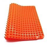 Brie Fuchi Silikon-Backmatte Mit Pyramiden-Noppen, Wiederverwendbare Backunterlage für Backblech Die Alternative zum Backpapier Antihaftend | Hitzebeständig Bis 250°C Größe 40.5x 29 cm Lebensmittelecht (BPA-frei) (Orange)