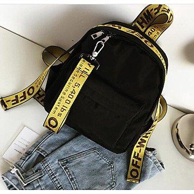 Frauen Rucksack Oxford Tuch alle Jahreszeiten Casual Runde Reißverschluss Gelb Schwarz Weiß 10-20 Yellow