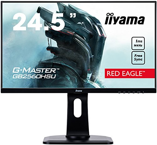 iiyama G-MASTER Red Eagle GB2560HSU-B1 62,2 cm (24,5 Zoll) Gaming Monitor Full-HD 144Hz (HDMI, DisplayPort, USB 2.0, 1ms Reaktionszeit, FreeSync, Höhenverstellung, Pivot) schwarz