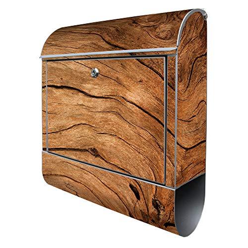 Banjado Design Briefkasten mit Motiv Trockenes Holz | Stahl pulverbeschichtet mit Zeitungsrolle | Größe 38x47x14cm, 2 Schlüssel, A4 Einwurf, inkl. Montagematerial
