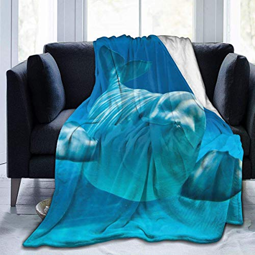 "Inontime Decke Cute Beluga Whale - Blue - Flannel Fleece Blanket Super Soft Cozy Warm Throw Blanket Microfleece Blanket for Couch Home Bed Sofa Chair, Easy Care, All Season Use,Queen Size 80""x60\"""