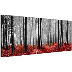 Lienzo moderno en negro, blanco y rojo con escenas de bosque de Wallfillers®