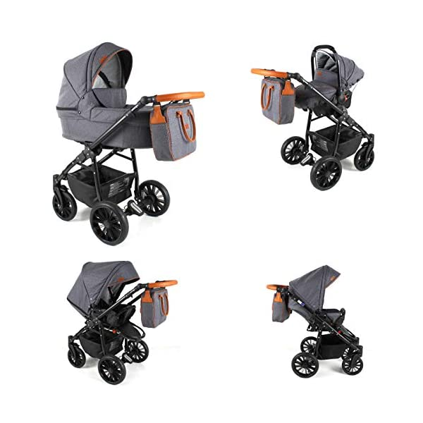 Lux4Kids Pram Stroller 3in1 2in1 Isofix Colour Selection Buggy Car seat for Grey For-05 4in1 car seat +Isofix Lux4Kids Lux4Kids For 3in1 or 2in1 pushchair. You have the choice whether you need a car seat (baby seat certified according to ECE R 44/04 or not). Of course the car is robust, safe and durable Certificate EN 1888:2004, you can also choose our For with Isofix. The baby bath has not only ventilation windows for the summer but also a weather footmuff and a lockable rocker function. The push handle adapts to your size and not vice versa, the entire frame is made of a special aluminium alloy with a patented folding mechanism. 3