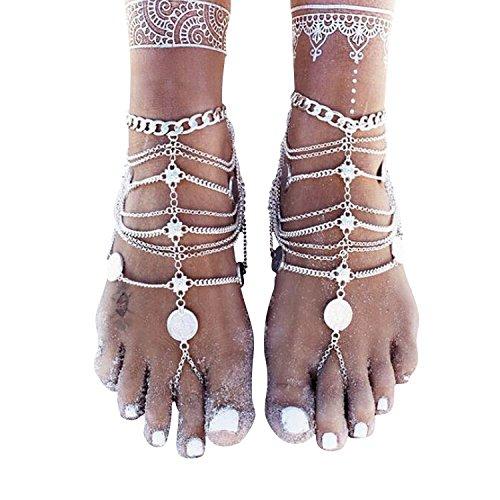 1 Single Damen Fußschmuck böhmisch Münzen Charms alt silbernes Fußkettchen aus Metalllegierung