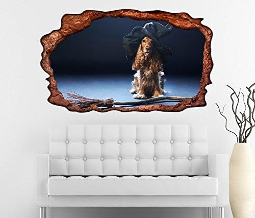 exe Hut Hexenbesen Halloween selbstklebend Wandbild Tattoo Wohnzimmer Wand Aufkleber 11L434, Wandbild Größe F:ca. 97cmx57cm ()