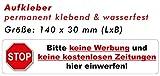 4St. Aufkleber - Bitte keine Werbung und keine kostenlosen Zeitungen... 140 x 30 mm (weiß)