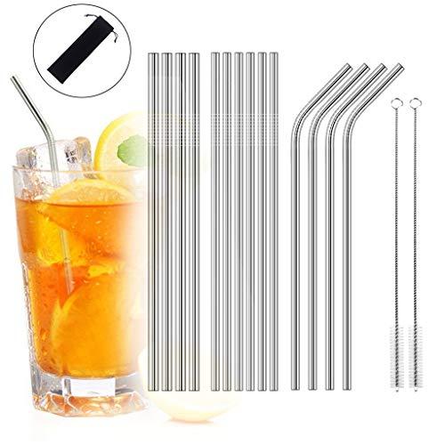 TAOtTAO Wiederverwendbare trinkende Metallstrohe des Edelstahls 16pcs / set mit Reinigungsbürsten Edelstahl-Strohbürstengarnitur - 8.5 Unze Set
