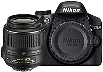 Nikon D3200 SLR-Digitalkamera (24 Megapixel, 7,4 cm (2,9 Zoll) Display, Live View, Full-HD) Kit inkl. AF-S DX 18-55 VR II Objektiv schwarz