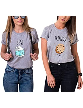 Mejores Amigas Camiseta 2 Best Friend T-Shirt Dibujos Animados 100% Algodón 2 Piezas Manga Corta Par Impresión...