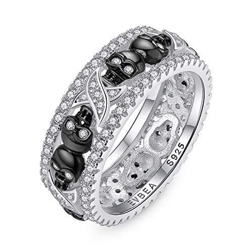 EVBEA Anillos Mujer Plata de Ley 925 Calavera Cristal Diamante...