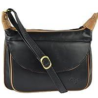 Ladies LEATHER Cross Body BAG by GiGi OTHELLO Collection Stylish Classic Shape (Black & Honey)