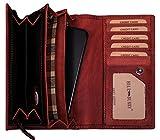 Hill Burry Echt-Leder Portemonnaie | Geldbörse aus weichem Vintage Leder - XXL Kreditkartenetui | Portmonee kompakt & viel Platz aus echtem Leder | Damen - Herren | Geldbeutel - (Rot)