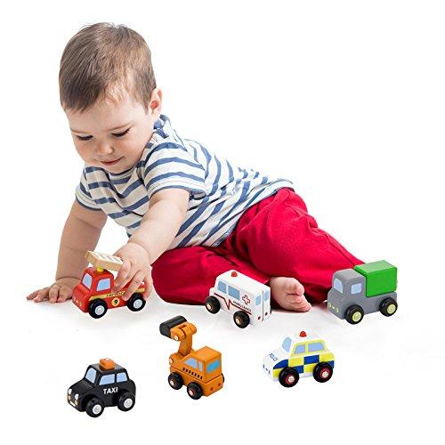 Vortigern 51022 - Wooden 6 Piece Mini Vehicle Toy Set inc Digger, Lorry, Fire Engine, Taxi.