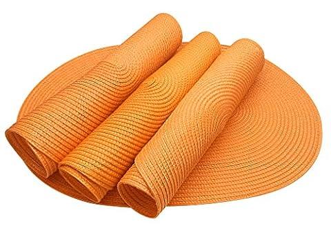 Eranda Oval gewebt Spiral Platzsets Set von 4(orange)