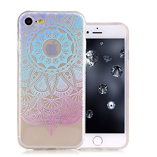 iPhone 7 Coque, Aeeque Fleurs de Dentelle Blanc Dessin Transparent Crystal Silicone Doux TPU Protection Contre les Chutes Case Cover Housse Etui pour iPhone 7 4.7 pouce Motif #37