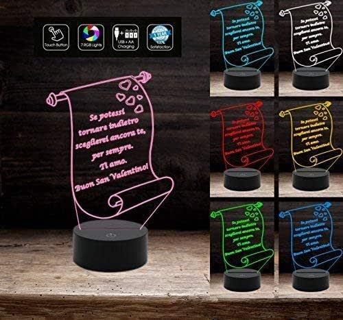 Lampada led 7 colori PERGAMENA personalizzabile con frase Idea Regalo San Valentino Anniversario Compleanno multicolore