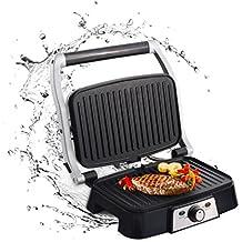 Aigostar Hitte 30HFA - Grill, parrilla, sandwichera y máquina de panini, 1500 W de potencia, placas antiadherentes con apertura de 180 °, intensidad regulable, toque frío. Color plata. Diseño exclusivo.
