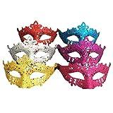 KAIMENG Mascarillas de Halloween Mascarillas de Brillo Mascarada de Polvo reluciente Máscara de fantasía de Carnaval de Fiesta Prop Fiesta (Paquete de 6 - Color Aleatorio)