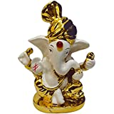Gold Plated Lord Ganesha Statue Hindu Dev Ganpati And Siddhivinayak God Sculputer Handicraft Idol Diwali Decorative Spiritual Puja Vastu Showpiece Figurine - Religious Pooja Gift Item & Murti For Mandir / Temple / Home / Office