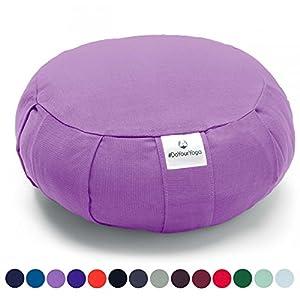 Coussin Zafu »Moogli« / Coussin de méditation de yoga classique ou coussin de yoga / 100 % coton / 35 cm x 15 cm / Disponible dans de nombreuses couleurs magnifiques / Lilas