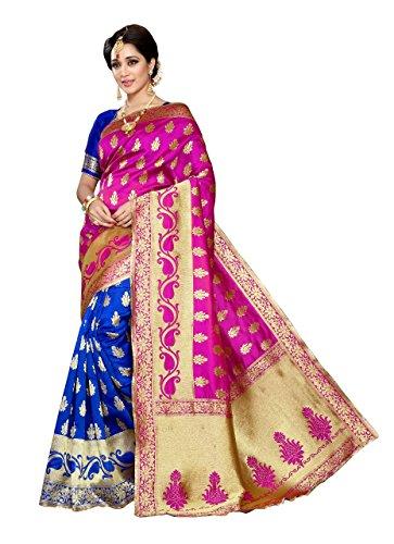 J B Fashion Women's Silk Pink,Blue Saree With Blouse Piece