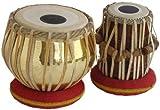 Musikalisches Sheesham Holz handgefertigtes goldenes Messing Tabla Set Goldfarben - ein Musikinstrument