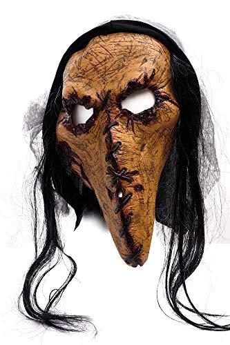 Zombie Kannibale Maske mit zugenähtem Gesicht – Gruselmaske Pirat Dämon gruselige Horror Masken
