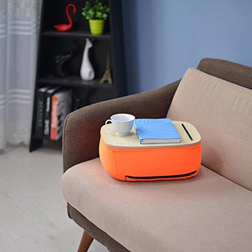 """Preisvergleich Produktbild KOMOREBI Portable Laptop Pillow Schreibtisch Lap Stand Notebook Computer Stand Tisch Runde Schreibtisch Portable Memory Foam Lap Desk mit Kissen (Orange) / Passt bis zu 14"""" Laptop"""