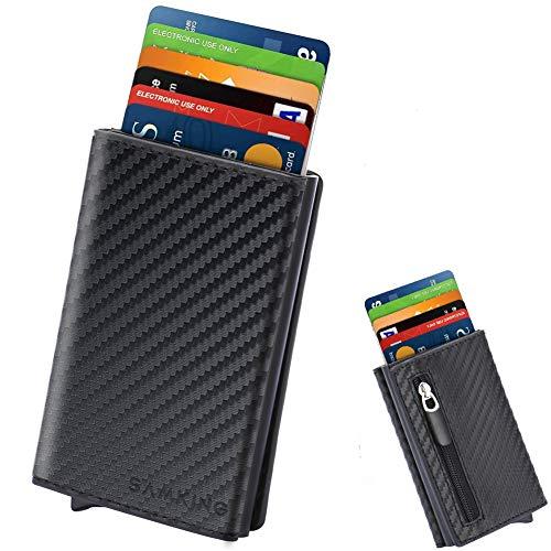 Kreditkartenetui mit Geldklammer und Münzfach, SAMKING Leder Geldbeutel Metall Kartenetui mit RFID Schutz, Slim-Wallet Mini-Geldbörse für Herren und Damen (Carbon Schwarz) -
