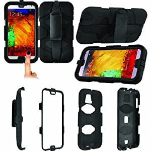 MobileextraLtd® Black Survivor Military Builders Heavy Duty Shock Proof Tough Strong Rugged Case Cover and Belt Clip With Built In Screen Protector Samsung Galaxy Note 3 N9000