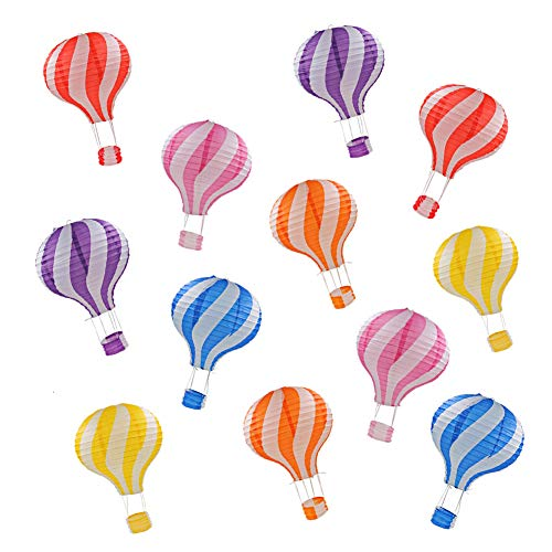 """Linternas de papel,12 piezas de colores caramelo globo de aire caliente linterna decoraciones colgantes para boda cumpleaños fiesta de bienvenida al bebé, decoración para el hogar, 12"""""""