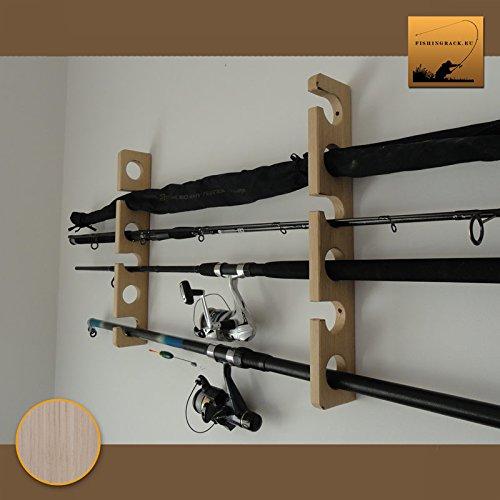 Wooden Fishing Rod Holder/Rack - Wall mounted (Ash-tree wood