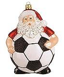Unbekannt Christbaumschmuck Figuren (Weihnachtsmann Fußball 11cm) Weihnachtskugeln Weihnachtsbaumschmuck Christbaumkugeln Deko Glas