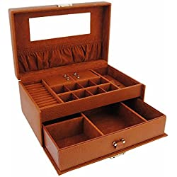 Jeweler with 1 mirror handle and 2 trays Size: U Color: CHESTNUT