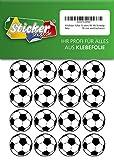 66 Aufkleber, Fußball, Sticker, 30 mm, weiß/schwarz, aus PVC, Folie, bedruckt, selbstklebend, EM, WM, Bundesliga