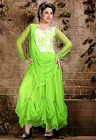 Utsav Fashion Women's Fluorescent Green Net Readymade Churidar Kameez-XXXX-Large