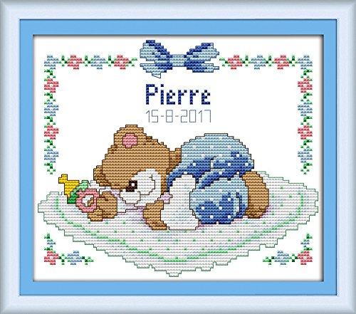tich-Muster-Set (Stickpackung)–Schlafender Baby-Bär (blau), blau, STAMPED ()