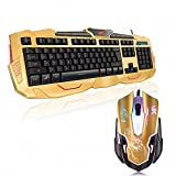 Gaming Keyboard and Mouse - Designated 3 Selectable Keyboard's Backlight - DPI Governor - Spill Resistant (Gold)