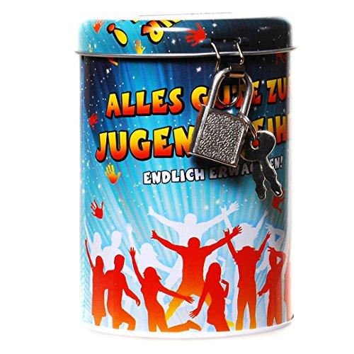 Spardose kaufen für Jugendweihe Metall Dose rund  Spardose kaufen für Jugendweihe Metall Dose rund 51V2l3QsGcL