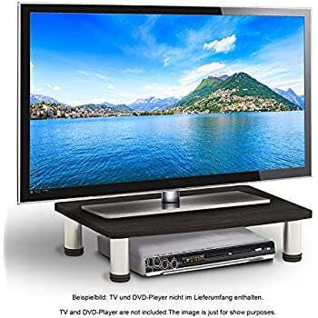RICOO Fernsehtisch LCD TV Stands Fernsehstand FS051B LED Fernseher Untergestell Tischständer Tisch Aufsatz Flachbildschirm Podest Flachbildfernseher PC Monitor Bildschirm Erhöhung Universal   Schwarz  