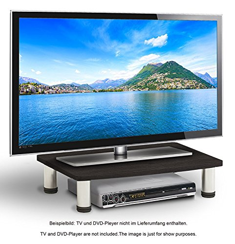 RICOO Wooden TV Stand Rack FS051B Monitor Mount Universal LED Curved QLED QE LCD OLED Projector Television Cabinet Pedestal Shelf Table Base Single Screen Heightening Display / Black