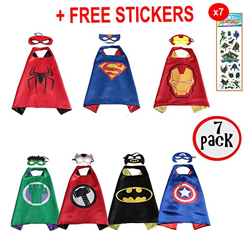 squishybean 7 Sets Kinder Cape und Masken Flash Superman Spider-Man Captain America Batman Hulk Thor Kostüme Super Hero Kleid bis Flash Superman Spiderman Captain America Batman Hulk Thor Kostüme Avengers Flash Superman Spider Man Captain America Batman Hulk Thor Fancy Kleid
