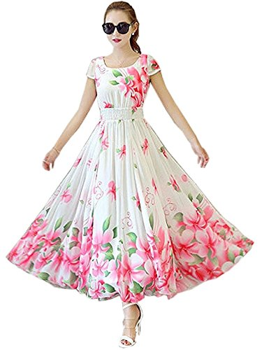 Shubham Creation Women\'s Latest Faux Georgette Western Frocks (WHITE)