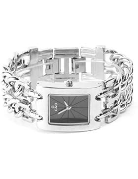 YESURPRISE Damen Modeuhr Armbanduhr Armreifen Armkette Uhr Damenuhr silber