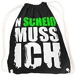 vanVerden Sport Turnbeutel N Scheiß Muss Ich Fun Spruch Font Design inkl. Geschenkkarte, Farbe:Black (Schwarz) / Neon Grün